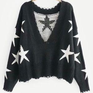 Cropped Rib Trim Star Sweater